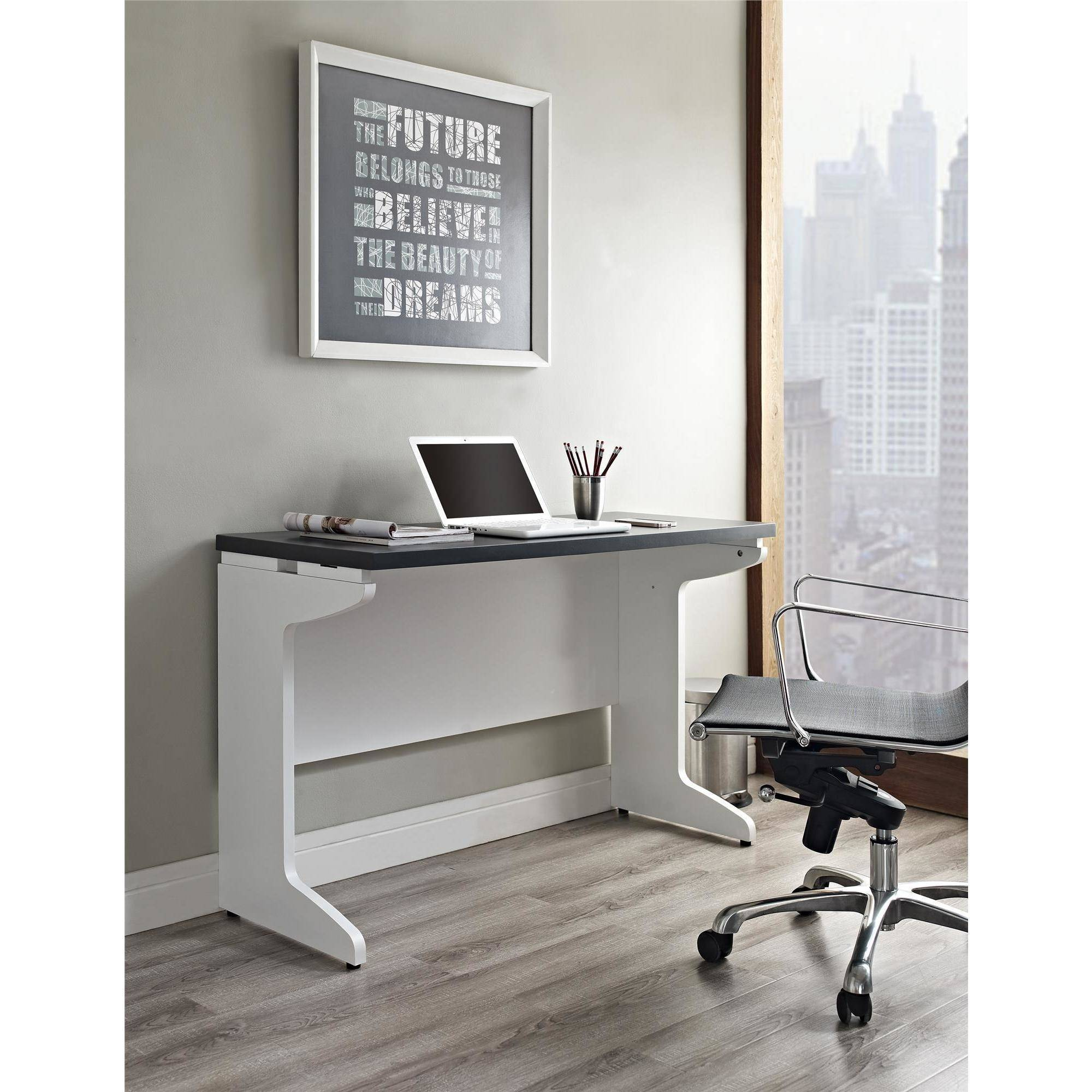 Ameriwood Home Pursuit Bridge/Work Table, White/Gray