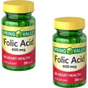 (2 Pack) Spring Valley Folic Acid Tablets, 400 mcg, 250 Ct