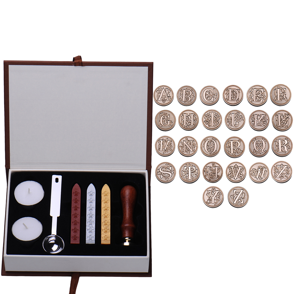 Initial Letter Vintage Alphabet Wax Badge Seal Stamp Wax Kit Set Tool Letter A-Z