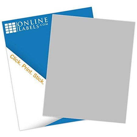 Online Labels Gray Sticker Paper 100 Sheets 85 X 11 Full