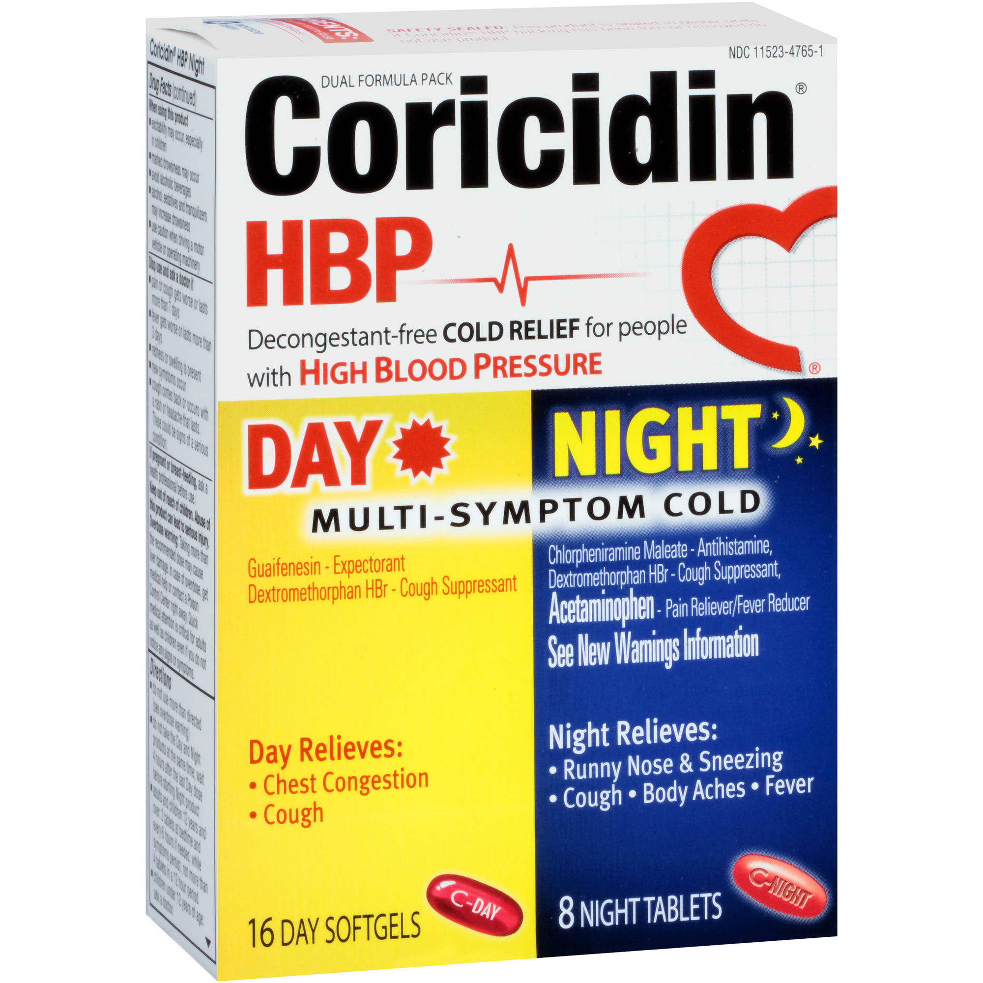 Coricidin HBP Day/Night Multi-Symptom Cold Relief, 24 count