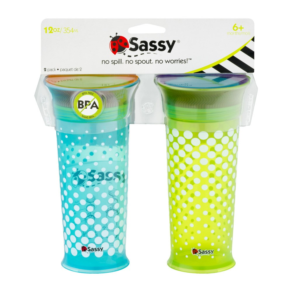 Sassy No Spill Spoutless Sippy Cup - 2 pack
