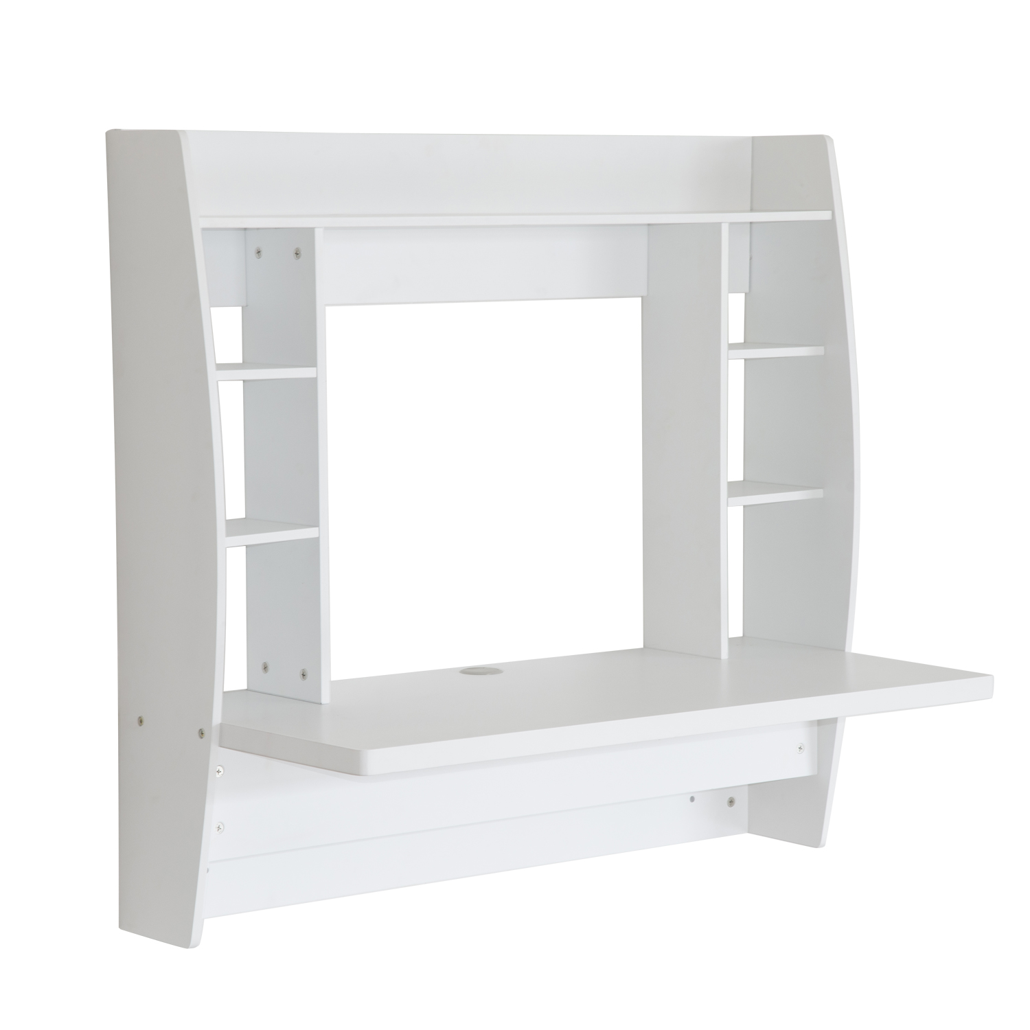 HomCom Floating Wall Mount Office Computer Desk With Storage   White