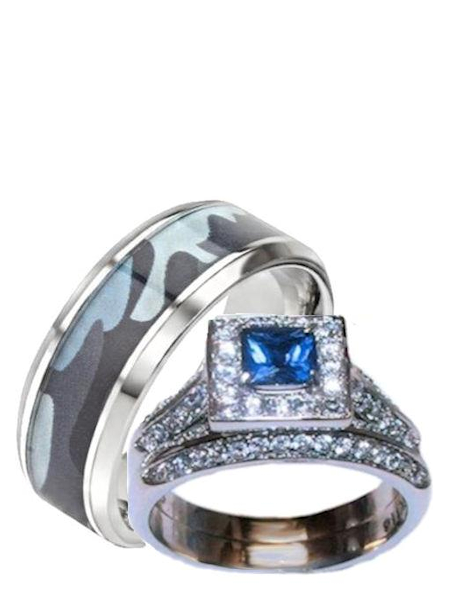 His Hers Blue And Clear Stone Wedding Ring Set Menu0027s Blue Camouflage Band
