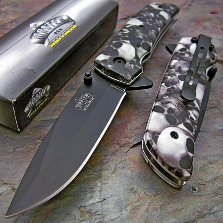 MASTER BALLISTIC Spring Assisted Open GREY SKULL CAMO Folding Blade Pocket Knife