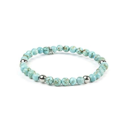 """ELYA Turquoise Beaded Stainless Steel Bracelet (6.5mm) - 7"""""""