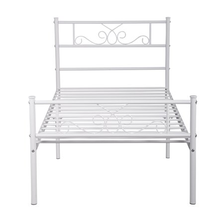 - Easy Set-up Premium Metal Bed Frame Platform Box Spring with Headboard Footboard