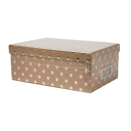 American Crafts DCWV Photo Storage Box with Book Plate - Kraft with Gold Dots, Scrapbooking Accessory - 11.125