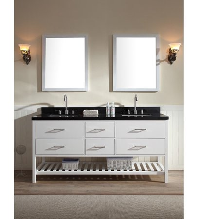 Absolute Black Granite Countertops - ARIEL SHAKESPEARE 73 IN. DOUBLE SINK VANITY SET WITH ABSOLUTE BLACK GRANITE COUNTERTOP IN WHITE