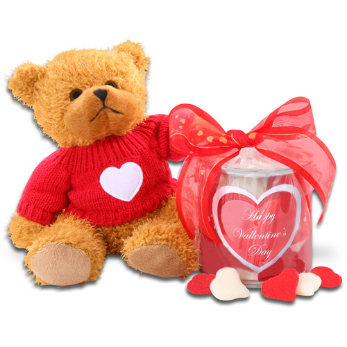 """Alder Creek """"Just for You"""" Red & White Valentine Hearts & Teddy Bear Gift Set"""