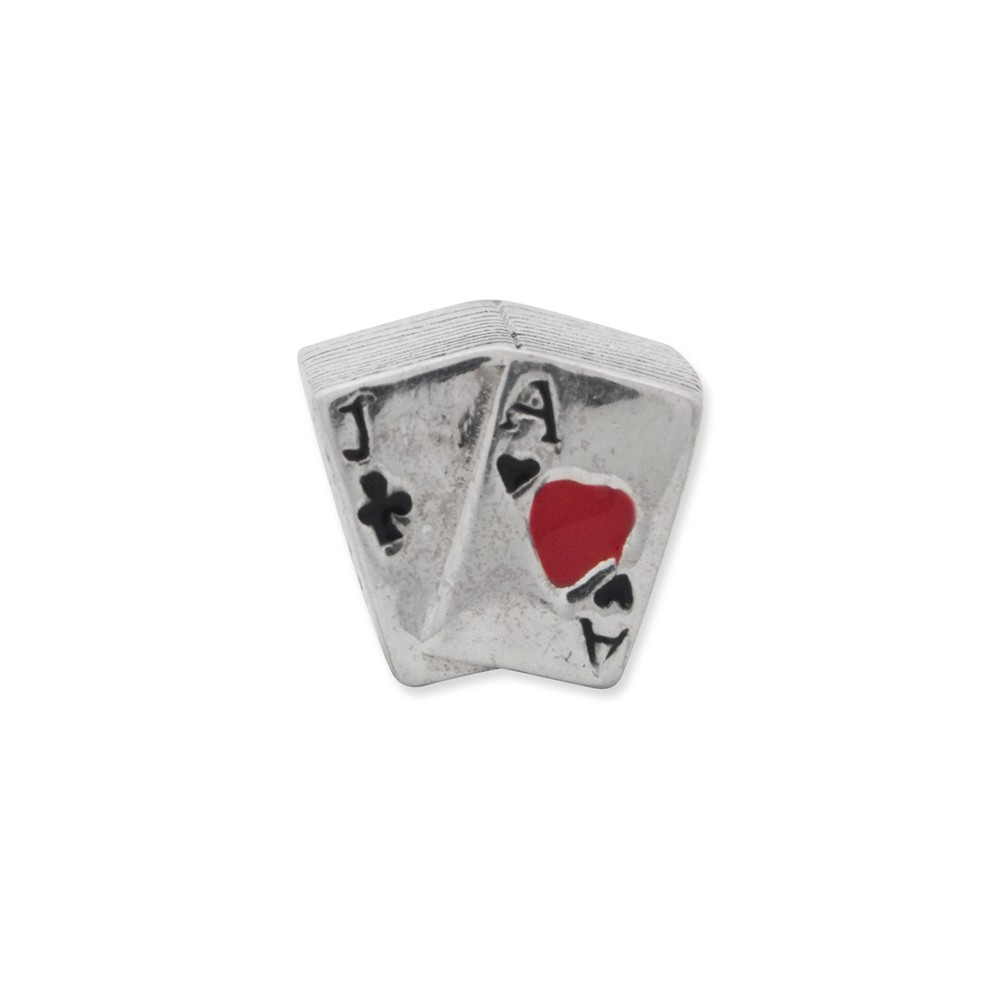 925 Sterling Silver Reflections Enameled Blackjack Bead