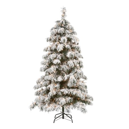 Holiday Time Pre-Lit Downswept Artificial Christmas Tree, 6.5', Clear ()