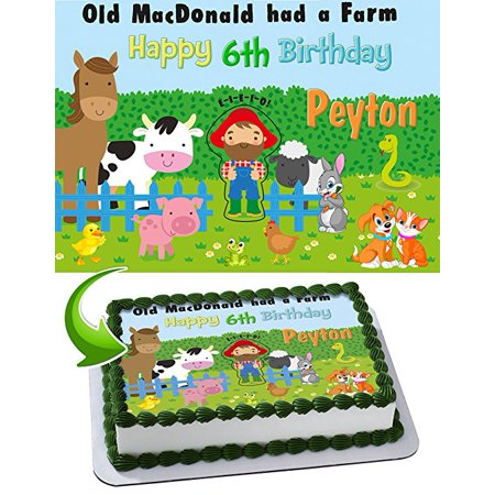 Old McDonald Had a Farm Edible Cake Topper Personalized Birthday 1/4 Sheet Decoration Custom Sheet Party Birthday Sugar Frosting Transfer Fondant Image Edible Image for cake for $<!---->