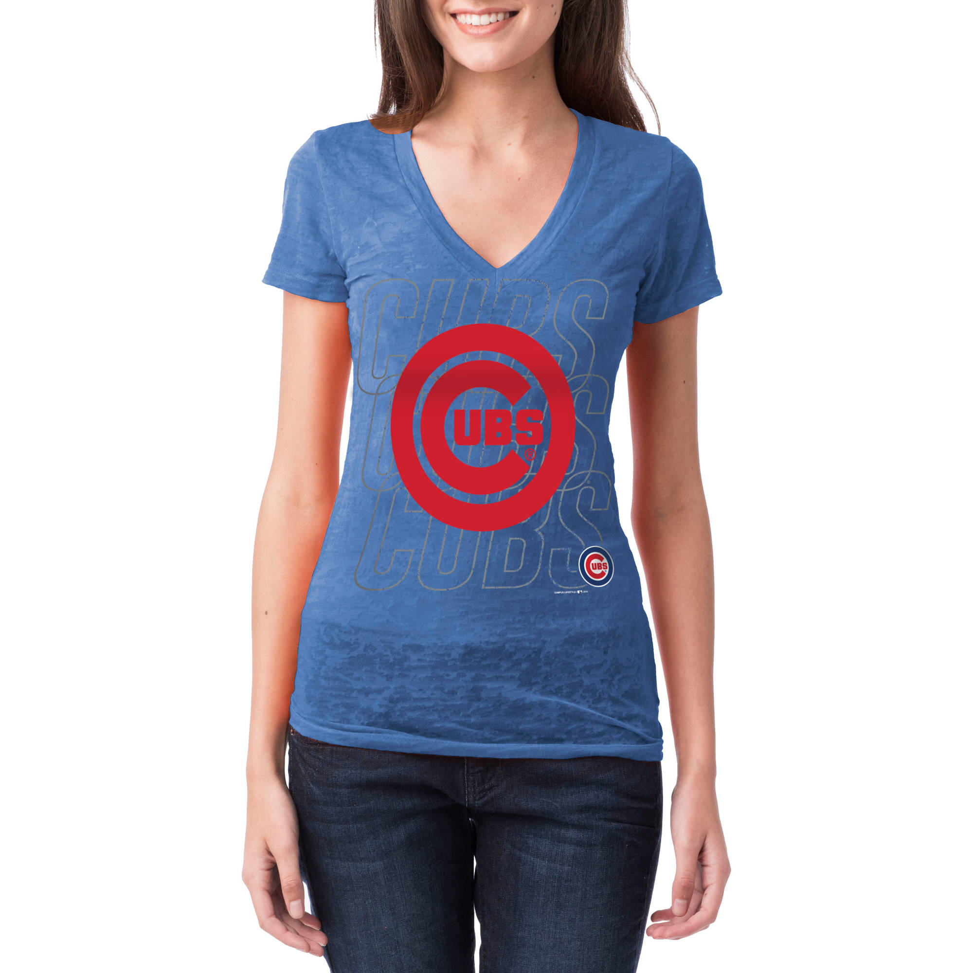 Chicago Cubs Womens Short Sleeve Burnout Graphic Tee