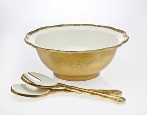 Campania Porcelain Gold Salad Bowl Dish with Serving Utensils by Godinger Silver Art
