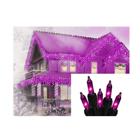 Set of 100 Purple Mini Icicle Halloween Lights - Black - Light Show Halloween Party Rock