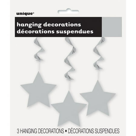 Star Hanging Decorations, 26 in, Silver, 3ct (Silver Stars Decorations)