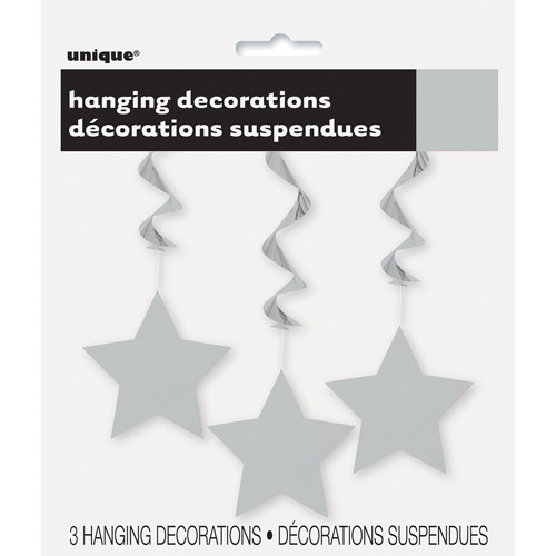 Star Hanging Decorations, 26 in, Silver, 3ct