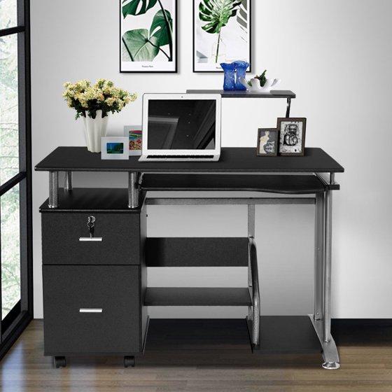 11fede1c143a Costway Computer Desk PC Laptop Table WorkStation Home Office Furniture w/ Printer  Shelf - Walmart.com