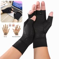 1Pair Unisex Half Finger Copper Anti Arthritis Gloves Compression Hand Stiffness Carpal Tunnel Pain Brace