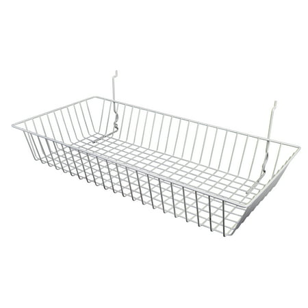 "- Econoco Black Wire Basket for Pegboard, Slatwall or Gridwall (Set of 6), Merchandiser Baskets, Perfect For Commercial or Retailer, Black Vinyl Coated Wire Basket, 24"" L x 12"" D x 4"" H, Shallow Baskets"