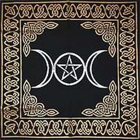 Altar Tarot Cloth: Triple Goddess With Pentagram - 24