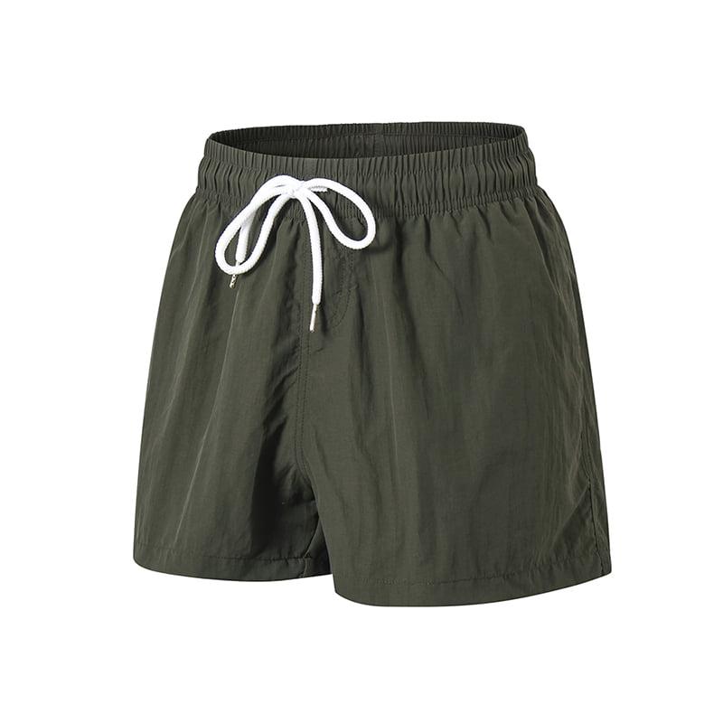 Mens Summer Fashion Swimming Sports Shorts,Man Solid Nylon Belt Drawstring Fitness Beach Shorts Pants