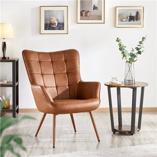 SmileMart Faux Leather Wingback Accent Chair Upholstered Biscuit
