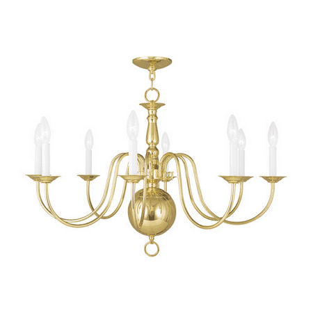 Chandeliers 8 Light Williamsburg With Polished Brass size 32 in 480 Watts - World of Crystal