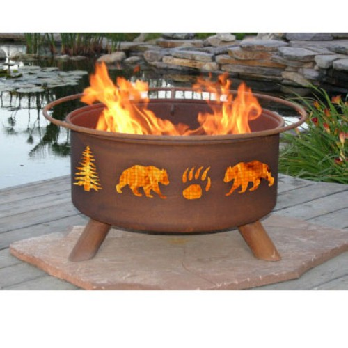 Outdoor Fire Pit by Patina Products - Bear & Tree