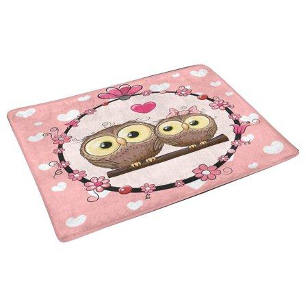 POP Greeting with Two Cute Cartoon Owls Door Mat Home Decor Indoor Entrance Doormat 30x18 Inches - image 1 of 3