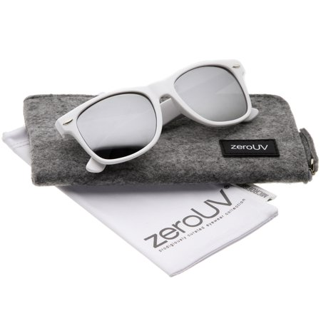 zeroUV - Hipster Fashion Flash Color Mirror Lens Horn Rimmed Style Sunglasses - 52mm Cool white frame version of the timeless classic horn rimmed sunglasses that features vibrant reflective color lenses. Stylishly wide high sitting temples and metal accents at the front complete these must-have sunglasses. Made with an acetate based frame, metal hinges and color mirror polycarbonate UV protected lenses. Product description provided by zeroUV.