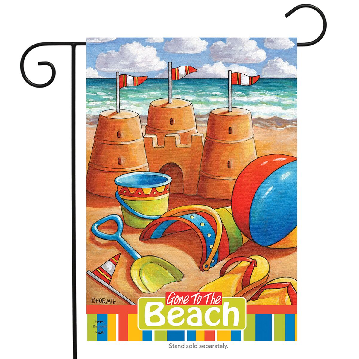 "Gone to the Beach Summer Garden Flag Nautical Sand Castles 12.5"" x 18"""
