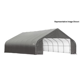 Peak Style Shelter 30x28x20 Steel Frame in gray cover by