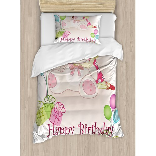 Ambesonne Birthday Decorations for Kids Duvet Cover Set
