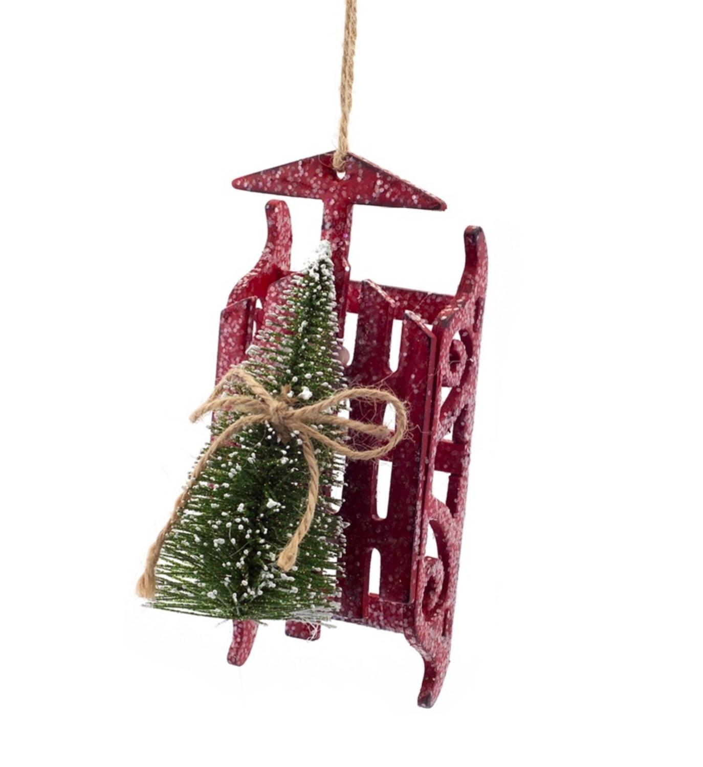 "6"" Country Rustic Red Sled with Sisal Tree Decorative Christmas Ornament"
