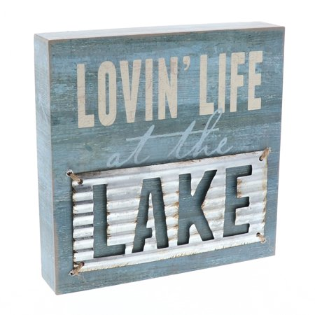 Barnyard Designs Lovin' Life at the Lake Box Wall Art Sign, Primitive Lake House Home Decor Sign With Sayings 8