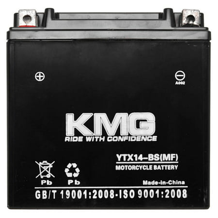 KMG Battery Compatible with Kawasaki 1200 ZX-12R 2005 YTX14-BS Sealed Maintenance Free Battery High Performance 12V SMF OEM Replacement Powersport Motorcycle ATV Scooter Snowmobile - image 2 of 3