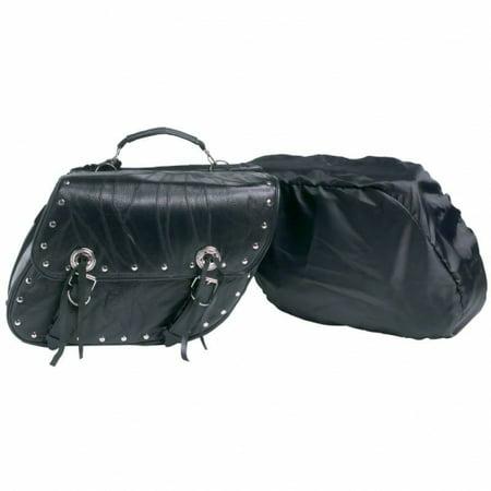 (Diamond Plate 2pc Rock Design Genuine Buffalo Leather Motorcycle Saddlebag Set)