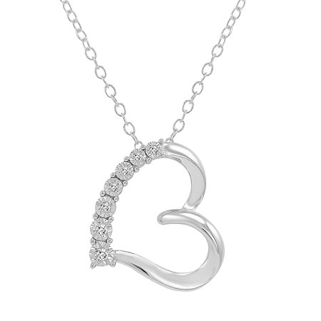 Amanda Rose 7 Diamond Heart Pendant in .925 Sterling -