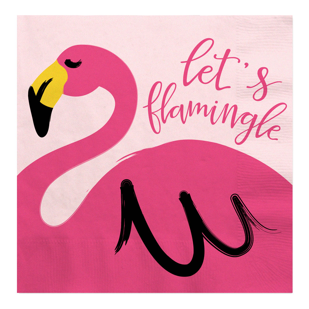Flamingo - Party Like a Pineapple - Baby Shower or Birthday Party Luncheon Napkins (16 count)