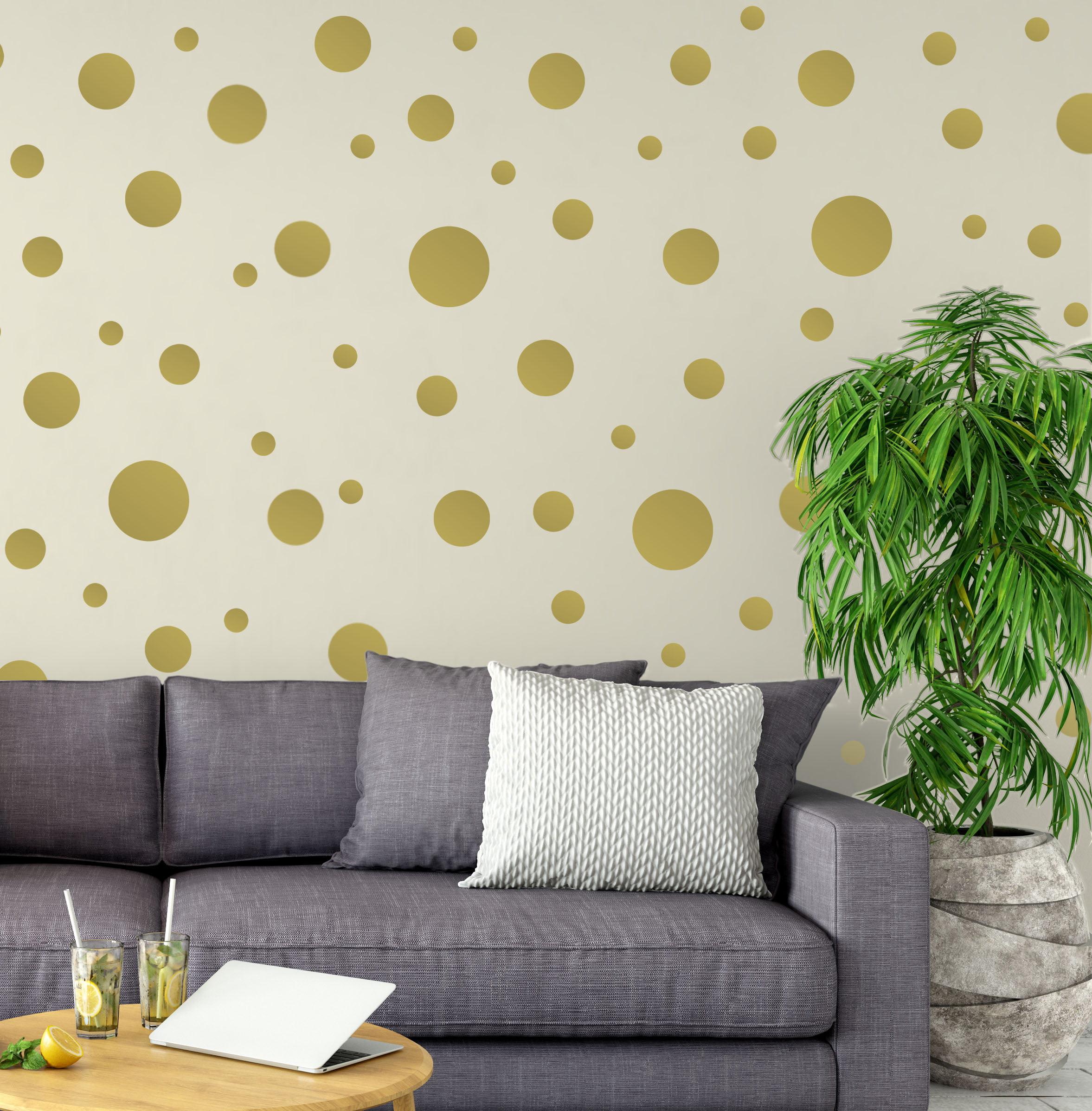 Gold Polka Dots Wall Decals Stickers Vinyl Circle Kids Room Decor Includes 63 Dots1 6 5 Walmart Com Walmart Com