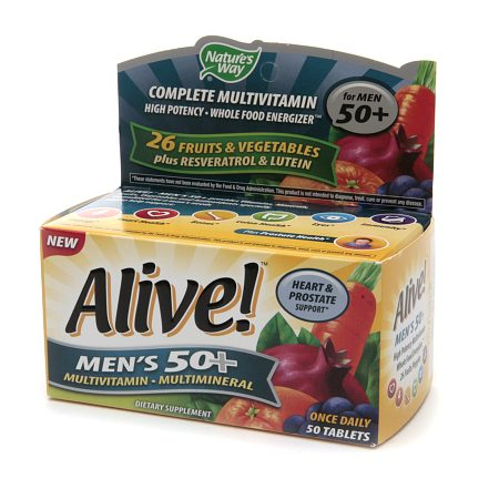 Nature's Way Alive! Men's 50+ Once Daily Multivitamin/Multimineral Dietary Supplement Tablet 50.0 ea(pack of 12)