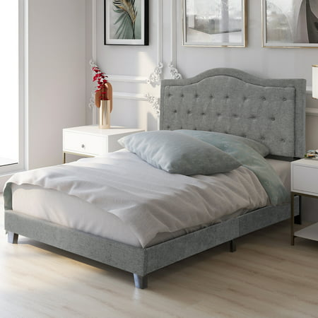 Harper&Bright Designs Classic Tufted Linen Upholstered Queen Size Platform Bed with Wood Slat Support, Multiple Colors ()