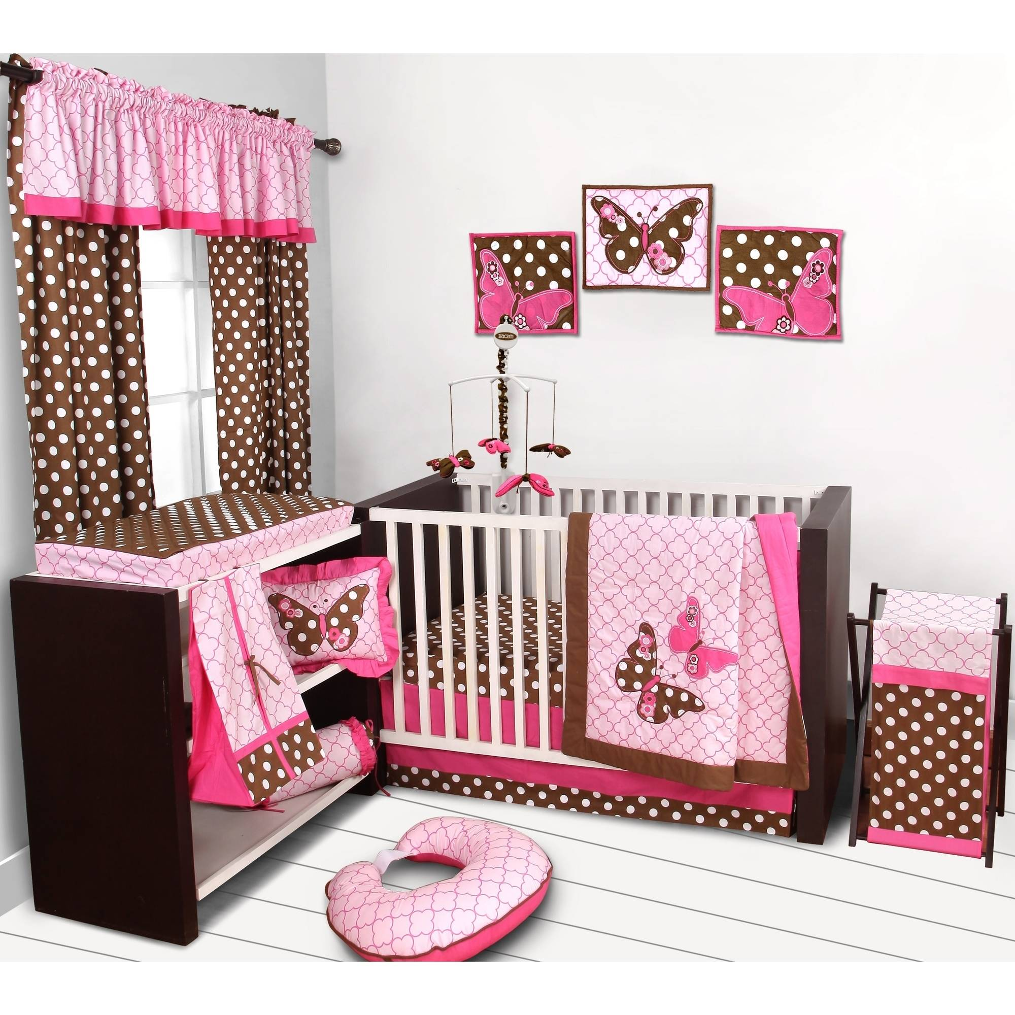 Bacati Butterflies 10-Piece Nursery in a Bag Crib Bedding Set, Pink/Chocolate