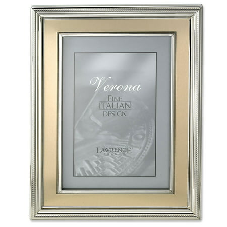 Brushed Silver Tone Frame (8x10 Silver Plated Metal Picture Frame - Brushed Gold Inner Panel)