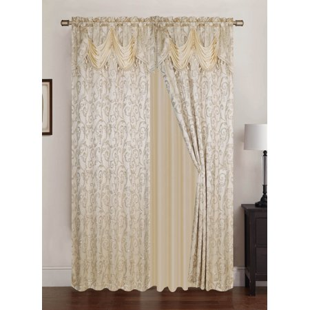 Franklin Jacquard 108 X 84 In Rod Pocket Panel Pair W Attached 18 Valance Beige Set Of 2