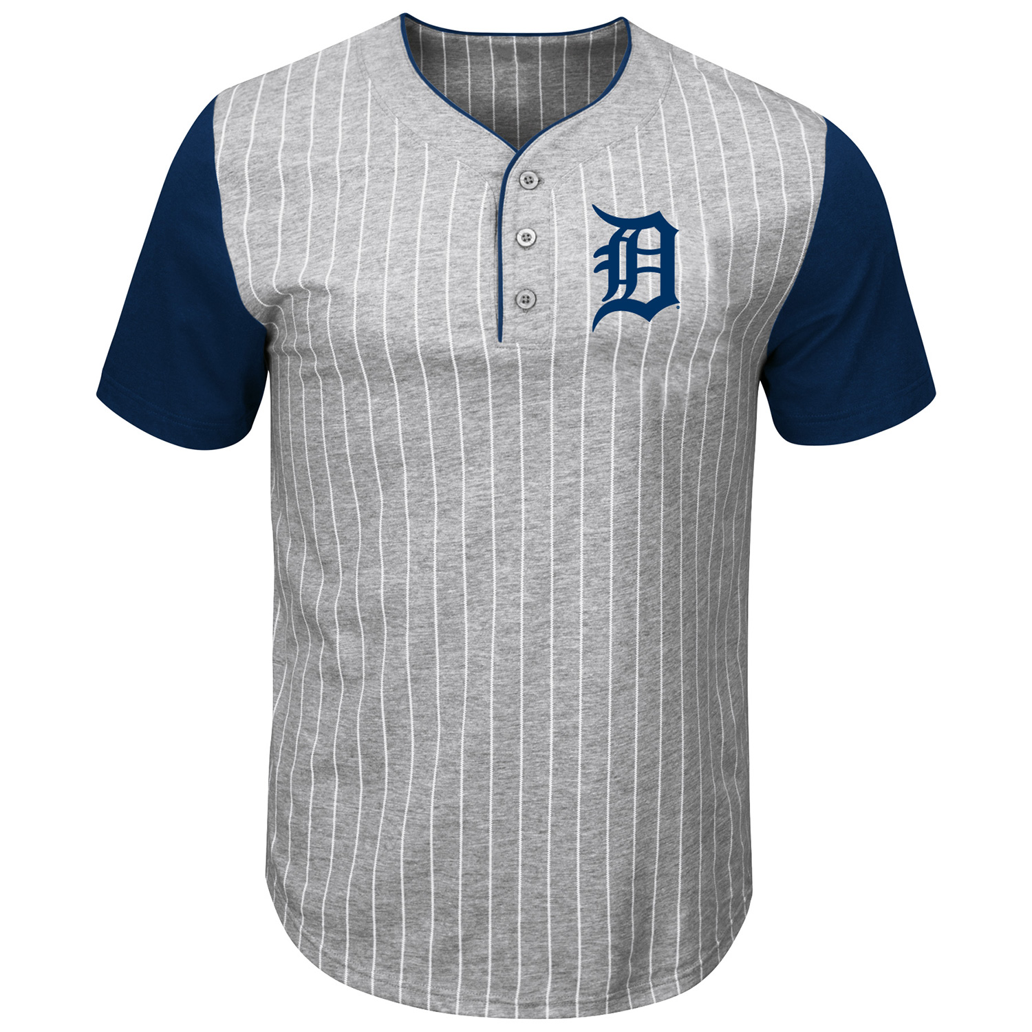 Detroit Tigers Majestic Life Or Death Pinstripe Henley T-Shirt - Gray/Navy