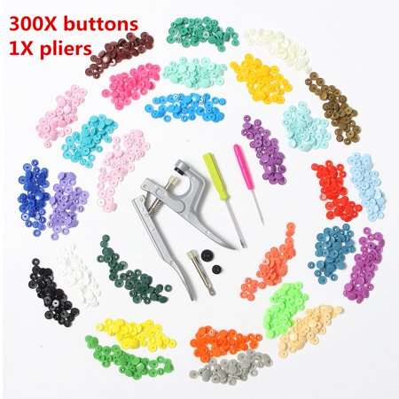 300pcs Snap Fastener KAM Snap 30-Color Starter Pack Snaps Press Pliers  Plastic Snap-On Buttons Fasteners Installation Punch Poppers Attachment  Setting