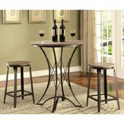 A Line Furniture Vintage Distressed Wood Top 3-piece Counter-height Table and Stool Set